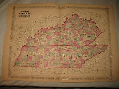 Huge Gorgeous Antique 1865 Kentucky Tennessee Johnson Handcolored Map Rare Nr