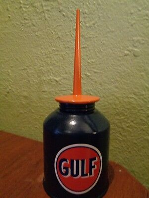 Vtg GULF Chevron Gasoline Station Gas Motor Pump OIL CAN Motor Oiler Spout