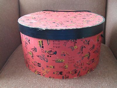 Large Vintage Red Chinese Character Dragon Print Hat Box Display Storage
