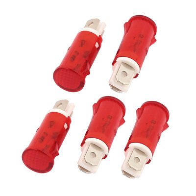 5 Pcs AC 220V ADP-14A Bulb Round Head Plastic Indicator Pilot Light Signal Lamp