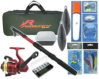 Junior Travel Sea Fishing Kit Set. Rod, Reel, Tackle, Tackle Box Weights & Bag