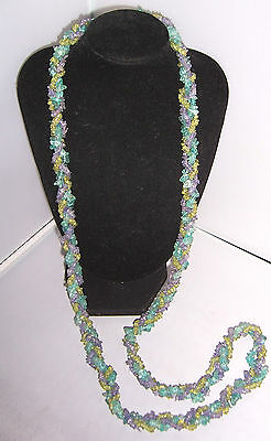 Gorgeous Long Thick GLASS Bead Vintage ROPE Necklace Green & Purple