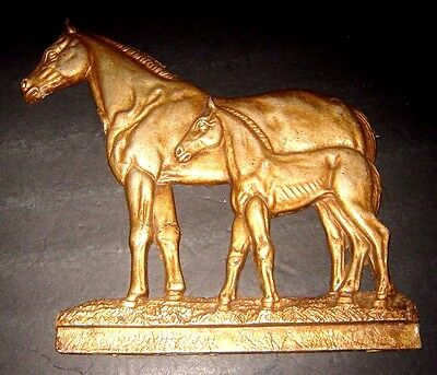 Antique Cast Iron Wall Hanging With Horse And Foal