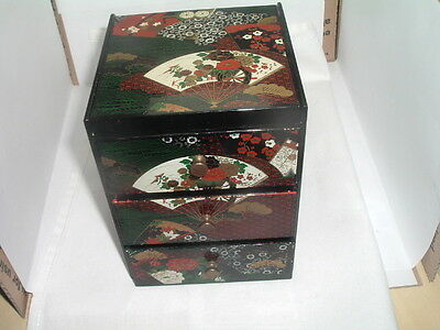 Asian Lacquer Hand Painted Jewelry Box W 3 Drawers Mirror And Brass Handles