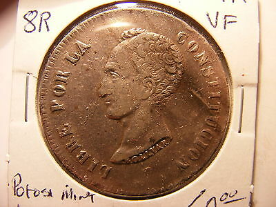 Bolivia 8 Soles, 1850-PTS, Well centered VF