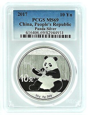 2017 China 10 Yuan Silver Panda PCGS MS69 - Blue Label