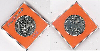 1976 New Zealand Uncirculated Large $1.00 Coin in a Presentation Case ~