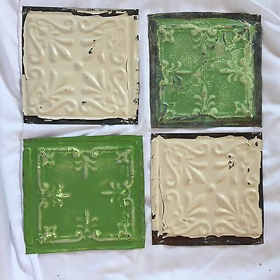"Reclaimed 4 6"" x 6""  Antique Tin Ceiling Tiles  Green & Ivory 248-17"