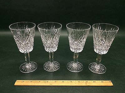 Set of 4 Tyrone Crystal Glass Antrim Pattern Wine Water Goblets Glasses 6 1/2""