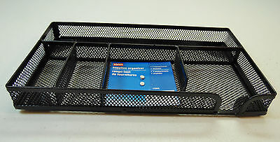 New Staples Supplies Desk Organizer Black Wire Mesh 5 Compartments Stackable