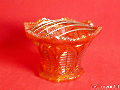 Carnival Glass Posy Bowl With A Wire Mesh Top - Amber