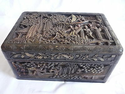 Antique Chinese Wooden Carved Picture Jewellery Trinket Box