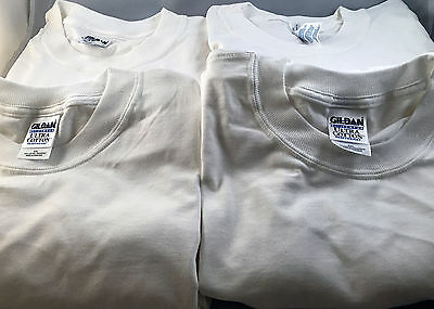 Lot of 4 WHITE Gildan Ultra G200 Tees - size: 5XL - NEW *26-030717