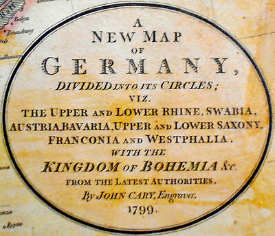 1799 Large Antique Map Chart Cary Germany Austria Bohemia Hand Color Folio