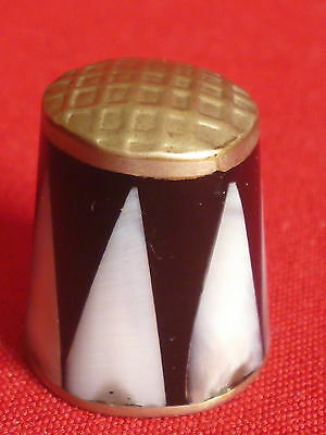 Metal And Mother Of Pearl Collectors Thimble