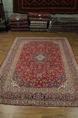 10X13 S Antique Traditional Red Kashan Persian Rug Oriental Area Carpet 9'5X13'3