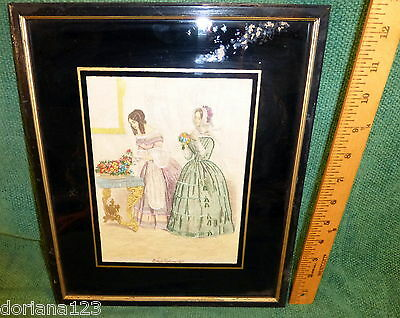 1860 Godey's fashion print fabric embroidered silk framed antique original