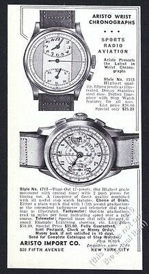 1938 Aristo chronograph watch 2 models photo vintage print ad
