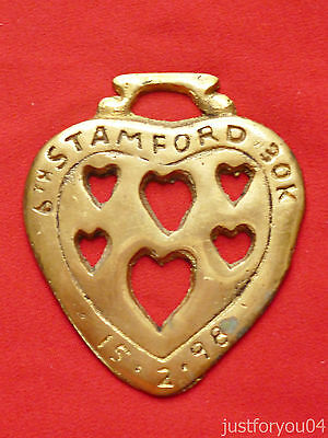 Vintage Solid Horse Brass 6Th Stamford 30K  15-2 98 (Love Heart shape)