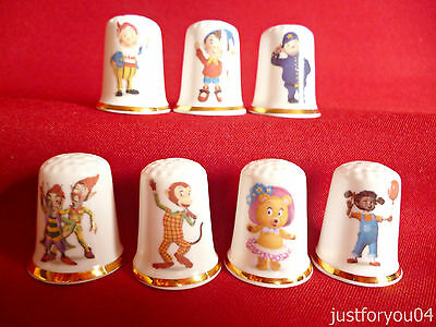 Set of 7 Noddy And Friends (Gold Gilded) Collectors Thimbles