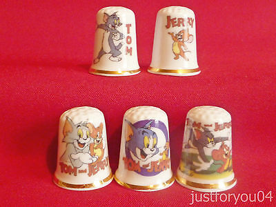 Set of 5 Tom and Jerry (Gold Gilded) Collectors Thimbles