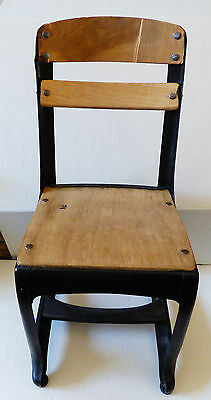 VTG Child's School small chair wood and metal black enamel