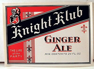 Early Knight Klub Ginger Ale J F Lazier Mfg Co 24 Oz Label St Louis Mo Old Stock