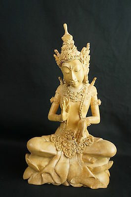 "Great detailed Thai / Bali carved wood figurine 10"" [Y8-W7-A9-E9]"
