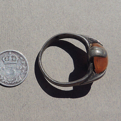 an old antique silver colored metal ring inset with agate carnelian nigeria #12