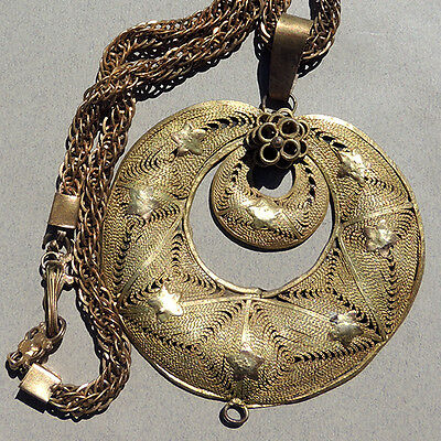 an ornate old gilded brass chain and filigree pendant yoruba nigeria #10