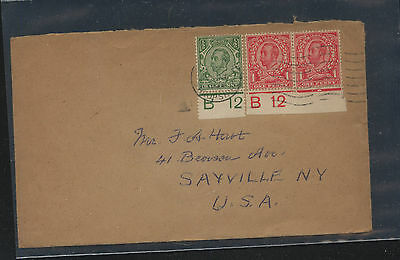 Great  Britain  margin number stamps on cover to US            KL1202