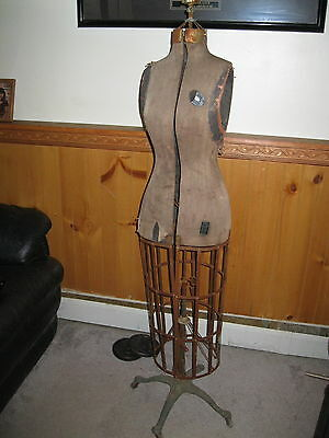 Antique L&M Acme adjustable dress form mannequin with cage & rolling stand