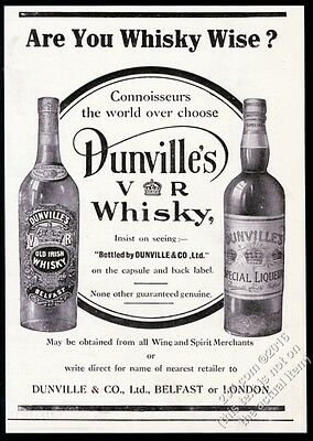 1912 Dunville's VR Old Irish Whisky Belfast bottle photo vintage print ad