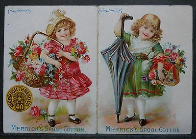 Merrick's Spool Cotton Calendar Trade Card 1896