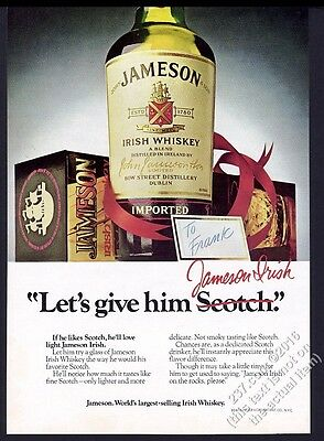 1977 Jameson's Irish Whiskey bottle box photo Christmas vintage print ad