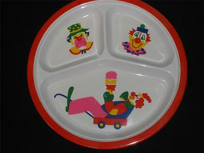 Kids Melamine Divided Dinner Plate Small Fry Original Clown Series