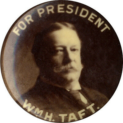 "1908 William Howard Taft Photo Campaign Button ~ 7/8"" size (4965)"