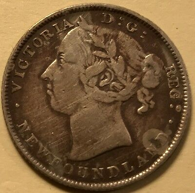 Newfoundland - Queen Victoria - 20 Cents - 1890 - KM-4 - Mintage 100,000 Cleaned