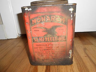 VINTAGE Early 1920s MONARCH SEMI FLUID OIL Advertising Can w EAGLE Transmission