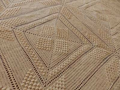 LOVELY VINTAGE HAND CROCHETED BEDSPREAD~Popcorn Stitches~62 x 78
