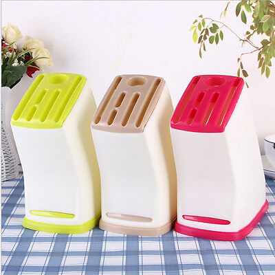 1pcs Kitchen Plastic Multifunction Knife Storage Rack Block Holder Stand