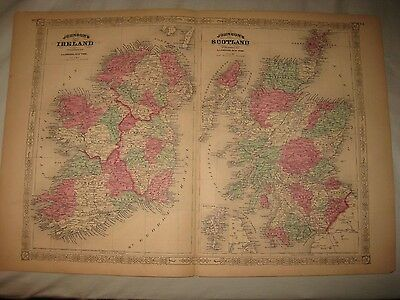 "Huge Gorgeous Antique 1868 Ireland Scotland Johnson Handcolored Map 18"" By 26"""