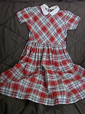 Vintage 50s 60s Girls Childs Dress Cotton Red Plaid 8 SAKS VGC