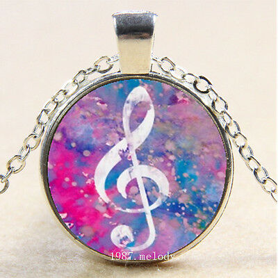 New Cabochon Glass Silver woman Pendants Necklace Music Notes