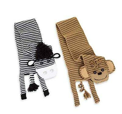 Mud Pie Baby ZEBRA SCARF OR MONKEY SCARF 173070 Knit Wits Collection