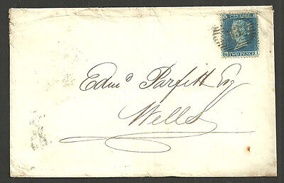 2D Blue Plate 5 Sg 34 Lettered Qi London 1857 To Wells United Kingdom Life Off.
