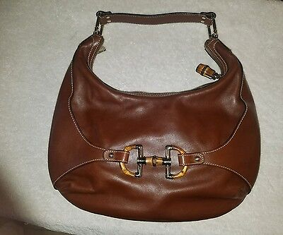 Authentic Gucci Bamboo Horsebit Brown Leather Hobo Saddle Bag Vintage OFFERS 71f6b81c18a37