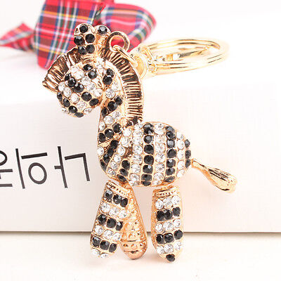 Zebra Black Horse Keyring New Cute Accesories Crystal Purse Bag Key Chain Gift