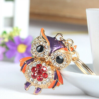 Owl Bird Lovely Charm Pendant Rhinestone Crystal Key Ring Chain Gift Accesories