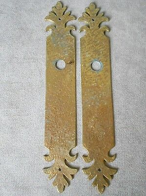 Pair of Vintage FRENCH Architectural Hammered Brass Backplates PUSH plates